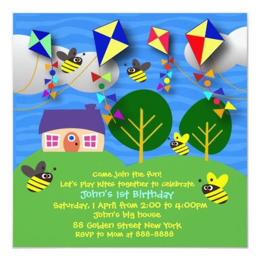 Invitación del cumpleaños del niño: 058 cometas de