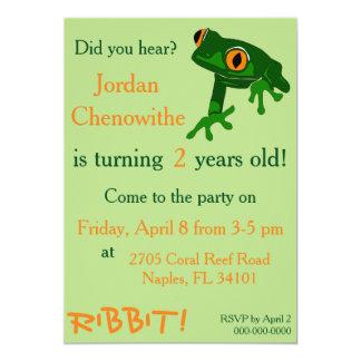 invitación del cumpleaños del niño de la rana