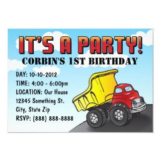 Invitación del cumpleaños del niño del camión