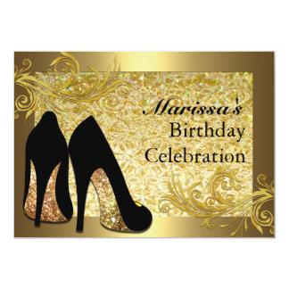 Invitación del cumpleaños del oro de la mujer invitación 12,7 x 17,8 cm