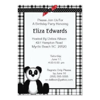 Invitación del cumpleaños del oso de panda invitación 12,7 x 17,8 cm