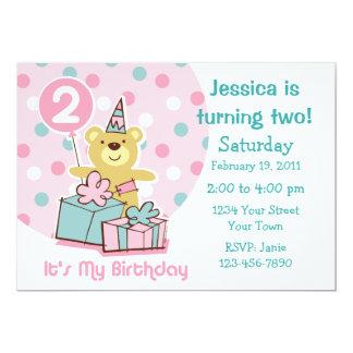 Invitación del cumpleaños del oso de peluche 2da