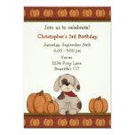 Invitación del cumpleaños del otoño del perrito y
