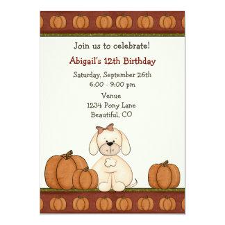Invitación del cumpleaños del otoño del perrito y invitación 12,7 x 17,8 cm