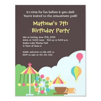 Invitación del cumpleaños del parque