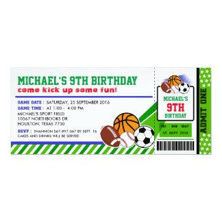 Invitación del cumpleaños del paso del boleto de