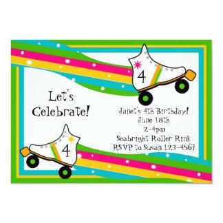 Invitación del cumpleaños del patinaje sobre invitación 12,7 x 17,8 cm