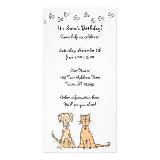 Invitación del cumpleaños del perro y del gato tarjeta fotografica