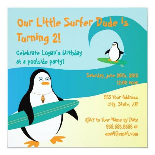 Invitación del cumpleaños del pingüino de la