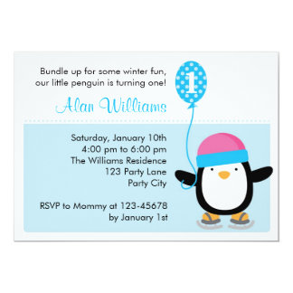 Invitación del cumpleaños del pingüino - muchachos