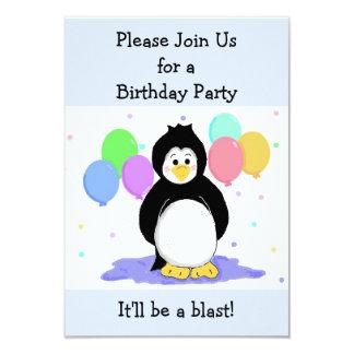 Invitación del cumpleaños del pingüino y de los