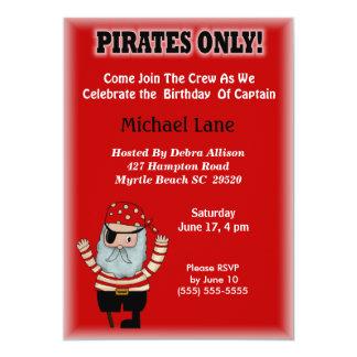 Invitación del cumpleaños del pirata de los niños