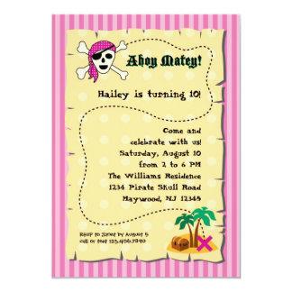 Invitación del cumpleaños del pirata del chica