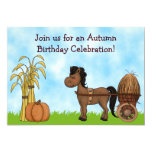 Invitación del cumpleaños del potro del otoño - invitación 12,7 x 17,8 cm