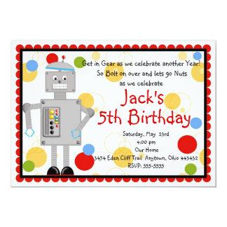 Invitación del cumpleaños del robot invitación 12,7 x 17,8 cm