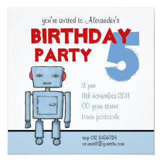 Invitación del cumpleaños del robot del juguete invitación 13,3 cm x 13,3cm