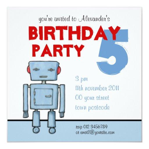 Invitación del cumpleaños del robot del juguete