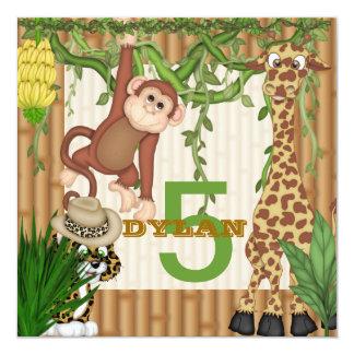 Invitación del cumpleaños del safari de selva de S