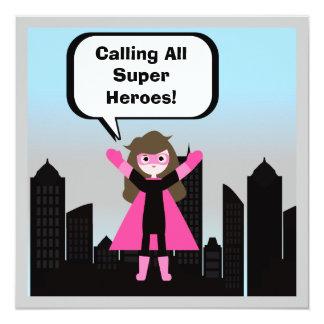 Invitación del cumpleaños del superhéroe del chica
