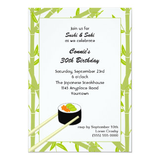 Invitación del cumpleaños del sushi