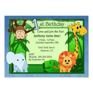 Invitación del cumpleaños del tema de la selva 1ra