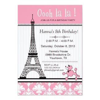 Invitación del cumpleaños del tema del caniche y
