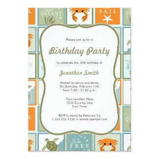 Invitación del cumpleaños del tema del océano