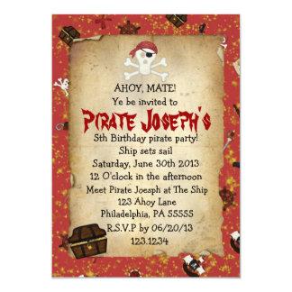 Invitación del cumpleaños del tema del pirata invitación 12,7 x 17,8 cm