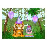Invitación del cumpleaños del tigre de Bengala de