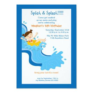 Invitación del cumpleaños del tobogán acuático