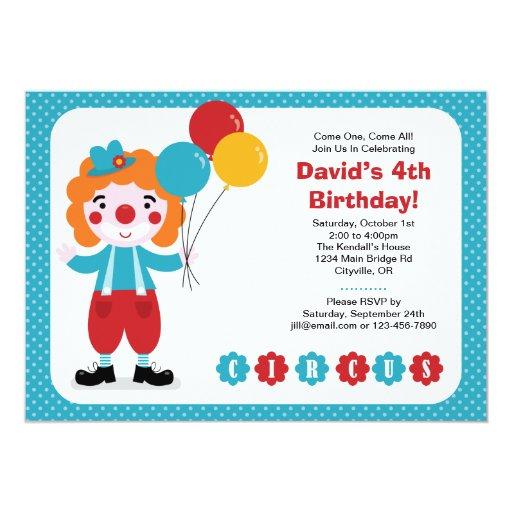 Invitación del cumpleaños del top grande del circo