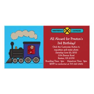 Invitación del cumpleaños del tren de la foto tarjetas con fotos personalizadas