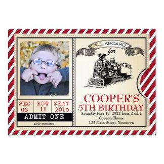 Invitación del cumpleaños del tren del vintage