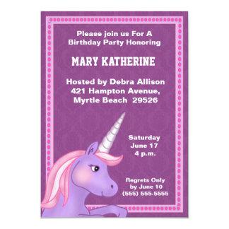 Invitación del cumpleaños del unicornio invitación 12,7 x 17,8 cm
