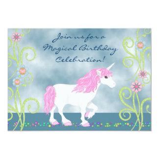 Invitación del cumpleaños del unicornio de la invitación 12,7 x 17,8 cm