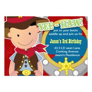 Invitación del cumpleaños del vaquero del Haw de Y