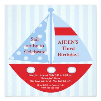 Invitación del cumpleaños del velero invitación 13,3 cm x 13,3cm