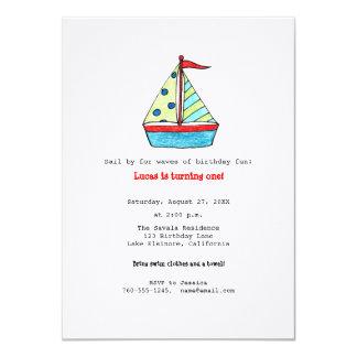 Invitación del cumpleaños del velero invitación 11,4 x 15,8 cm