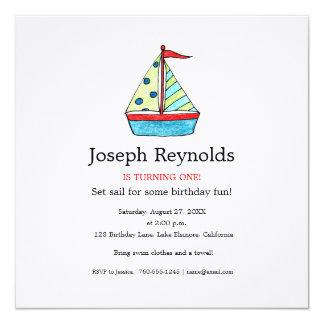 Invitación del cumpleaños del velero, cuadrado invitación 13,3 cm x 13,3cm