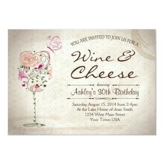 Invitación del cumpleaños del vino y del queso