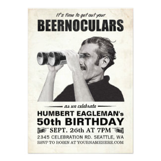 Invitación del cumpleaños del vintage de Beernocul