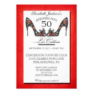 Invitación del cumpleaños del zapato floral del vi