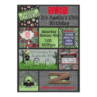 Invitación del cumpleaños del zombi