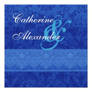 Invitación del damasco del azul real y del boda