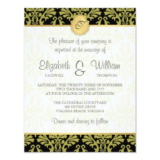 Invitación del damasco del vintage y del boda del