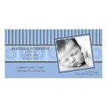 Invitación del damasco y del nacimiento del bígaro tarjeta personal con foto
