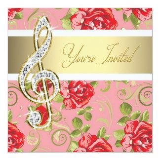 Invitación del decreto del Clef agudo del rosa