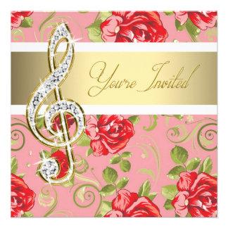Invitación del decreto del Clef agudo del rosa roj