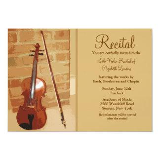 Invitación del decreto del violín invitación 12,7 x 17,8 cm