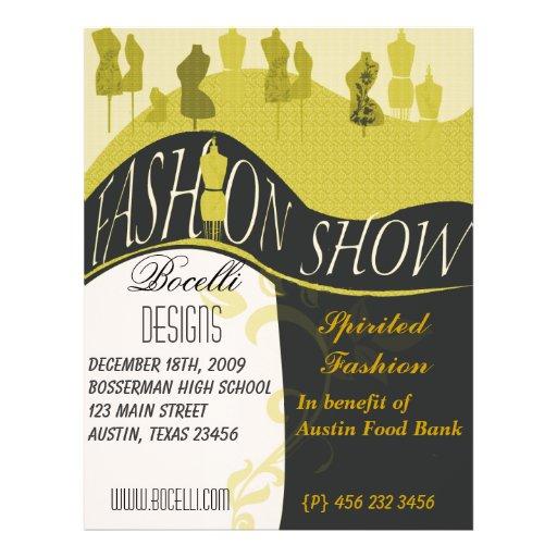 """Invitación del desfile de moda y del diseñador folleto 8.5"""" x 11"""""""